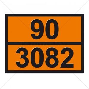"""Табличка ДОПОГ опасный груз 90 3082- """"Вещество жидкое, опасное для окружающей среды"""""""