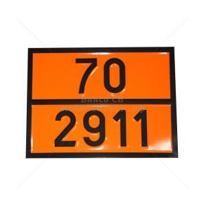 """Табличка ДОПОГ - """"Радиоактивный материал, освобожденная упаковка, приборы или изделия""""  (UN2911)"""